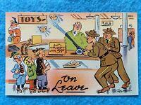 Army on Leave - Vintage Postcard