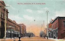 """JAMESTOWN, ND 5th Avenue Street Scene """"Billiards & Pool"""" Vintage 1910 Postcard"""
