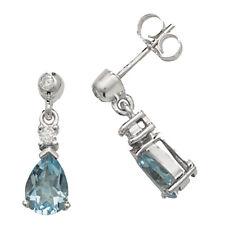 Unique Wishlist 9ct White Gold Aqua & Diamond Small Pear Drops *ED245WAQ
