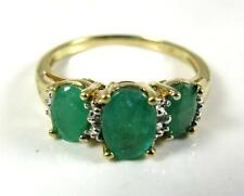 Engagement 1.9CT Natural Emerald diamond three stone ring 10K yellow gold VIDEO