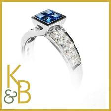 18ct White Gold Ring Rnd Diamonds and Blue Bagt Sapphire SIZE P 1/2 - 94389 SALE