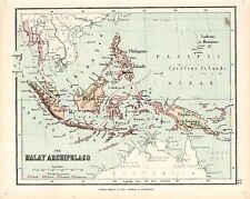 Carta geografica antica MALESIA FILIPPINE Philippines Hughes Londra 1878 Old Map