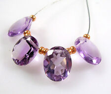 NATURAL GEMSTONE LILAC BRAZILIAN AMETHYST FACETED OVAL SOLITAIRE BEADS 9 mm B25