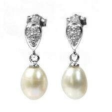 De Buman Sterling Silver Cultured Freshwater Pearl and CZ Earrings
