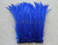 """100+ (7.0g, 1/4Oz) Royal Blue 5-7"""" Hackle Rooster COQUE Feathers for crafting"""