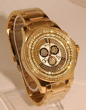 King master men watch  gold finish metal band  with 12 diamonds fashion