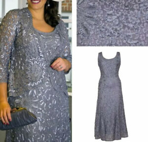 Chesca Cornelli Lace Dress Jacket Occasion Party Mother Of Bride Wedding 14 16