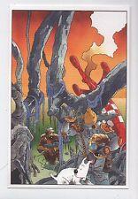 Carte Postale Tintin par Pascal SOMON Tintin  après la chuté de la fusée lunaire