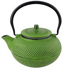 Teekanne 1,5 L Gusseisen + Teesieb Asia Style Kaffeekanne Grün Schwarz Asiatisch