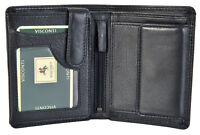 Visconti Black Soft Real Leather 8 Card RIFD With Coin Purse Mens Wallet HT-11