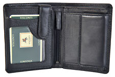 Visconti Black Soft Leather 8 Card RIFD With Coin Purse Men Wallet  HT-11