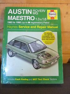 922 Haynes Manual Austin Rover MG Maestro 1.3 & 1.6 1983-1995