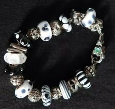 TROLLBEADS Limited Edition Black and White Charity Bracelet With Silver Beads
