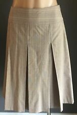 CUE A-Line Pleated Beige & Purple Check Skirt Size 10 - Beauty!