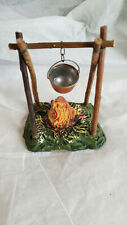 Vintage German Putz Twig Kettle Stand with Fire