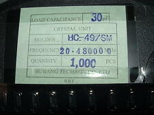 strip of 100 x 20.48 Mhz crystal surface mount HC-49SM 20.48mhz