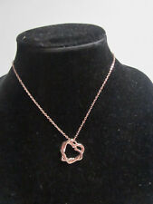 """FASHION JEWELRY RHINESTONE ROSE GOLD PLATED INTERTWINED HEARTS NECKLACE 16"""""""