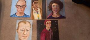 Various Oil Paintings Portraits Oil On Wood Panel Unframed Originals