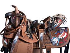 "16"" Dark Brown Western Barrel Racing Pleasure Trail Saddle Leather Tack U-2-16"