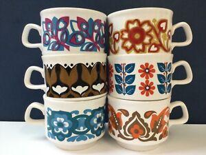 Job lot 6 vintage Staffordshire Potteries cups: assorted retro 1970s designs