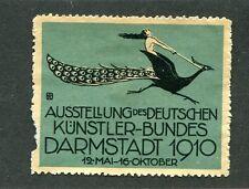 Vintage Poster Stamp Darmstadt Germany 1910 Kunstler Bundes Art Fair Peacock