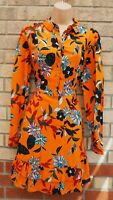 PAPAYA BURNT ORANGE FLORAL HALF BUTTONED LONG SLEEVE A LINE SHIRT SKATER DRESS L