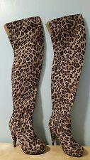 Charlotte Russe Womens Sz 8 Leopard Print Above Knee Thigh Boots Platform Heels