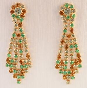 Boucles d'oreilles CLIPS—Métal doré —Strass—Jaune, vert, ocre—Vintage