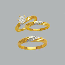 NEW 14K TWO TONE GOLD TRIO WEDDING SET CZ RING MENS & LADIES CHOOSE SIZE