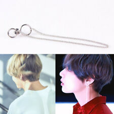 2pcs New KPOP BTS V Earrings Bangtan Boys V Stud Doulbe Ring Chain Earrings