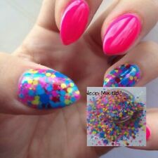 Nail Art Glitter ( Neon mix up ) Bag Chunky Stars Body Face Dots Summer