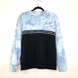 Womens FRED PERRY Casual Light Blue Tie Dye Black Jumper Sweater UK 12