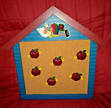 Teacher Wooden Schoolhouse Cork Bulletin Board 6 Teacher Apple Pins Classroom