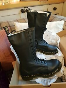 Dr Martens 1B99 Virginia Black Leather Mid Calf 14 eyelet Boots size Uk 4 EU 37