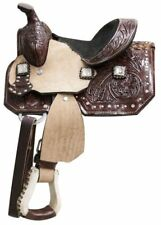 """New 8"""" Western pleasure trail leather Double T kids youth pony show saddle"""