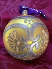 """FLAWLESS Exquisite WATERFORD Glass PAISLEY ICE BEAD Christmas ORNAMENT 4"""" Ball"""