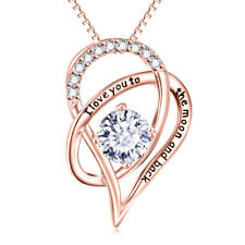 """Silver """"I Love You To The Moon and Back"""" Heart Pendant Necklace"""