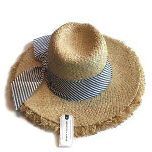 Melrose And Market Hat Women's One Size Beige Blue Trim Paper Sun Panama Straw