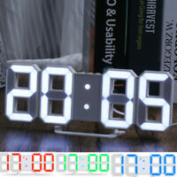 Big Digital 3D LED Wall Clock Desk Clock Snooze Alarm Dimmable Clock USB 12/24H