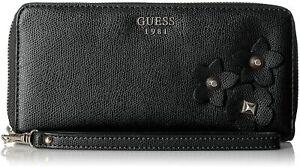 NEW GUESS Liya Black Faux Leather 3D Flower Detail Zip-Around Wristlet Wallet