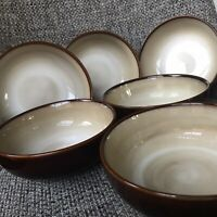 """6 Sango NOVA BROWN Coupe Cereal Bowls 6 5/8"""" Great Condition!"""