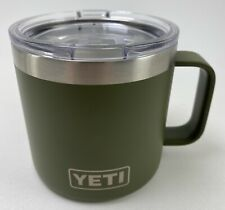 YETI Mug Stainless Cup Tumbler 14oz With Lid, Olive Drab Green With Silver Logo