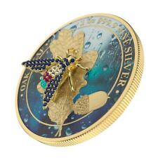 Germania 2019 5 Mark Oak Leaf - Bejeweled Fly - 1 Oz Silver Coin