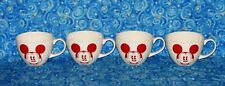 New 4 Disney Store Cappuccino Mugs Large Coffee Cups Red Vintage Mickey Mouse