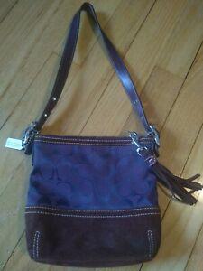 COACH f04k-1523 purple brown mini satchel bag purse handbag C logo tassel