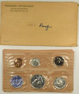 1957 US MINT 5 COIN SILVER PROOF SET - GEM PROOF BU IN GOVT PACKAGING