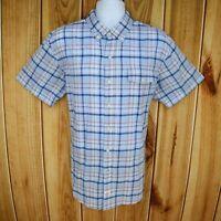 IZOD Shirt Casual Button Up Mens XL Blue Plaid 100% Cotton Poplin Short Sleeve