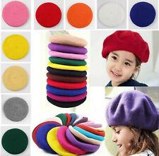 Fashion Kids Children French Style Soft Wool Warm Beret Beanie Hat Fluffy Cap US
