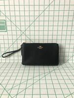 NWT Coach F87587 Double Zip Wallet Wristlet Pebble Leather Fits Iphone Plus $178