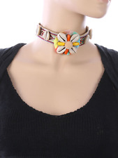 Seashell Fabric Choker Tribal Pattern Embroidererd Necklace - USA Shipping